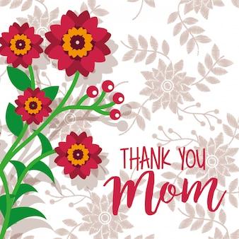 Ramo di fiori di bellezza grazie sfondo floreale di carta mamma