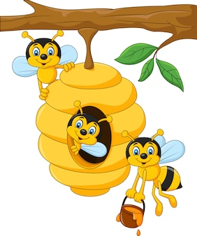 Ramo di un albero con un alveare e api