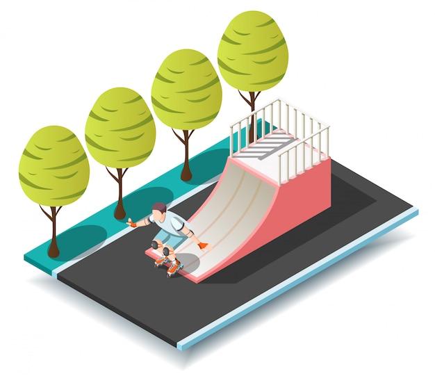Rampa sportiva per roller e skateboarder