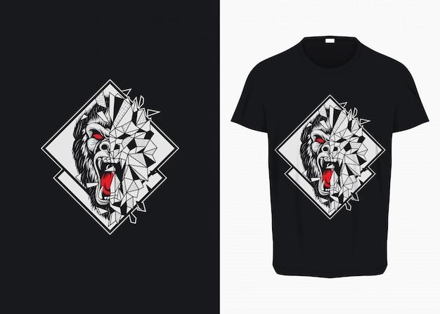 Rampage gorilla breaking glass illustration per t-shirt