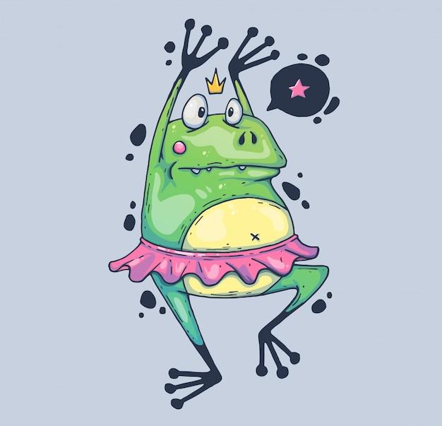 Rana divertente in un tutu di balletto. il rospo goffo sta ballando. illustrazione di cartone animato personaggio in stile grafico moderno.