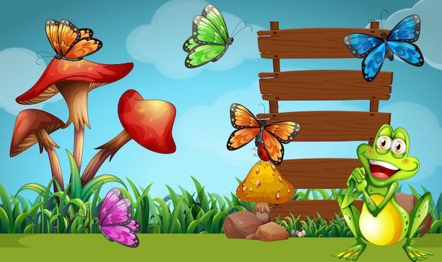 Rana e farfalle al cartello