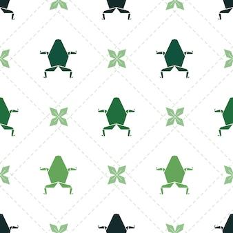 Rana verde di origami verde senza soluzione di continuità con sfondo pattern di fiori