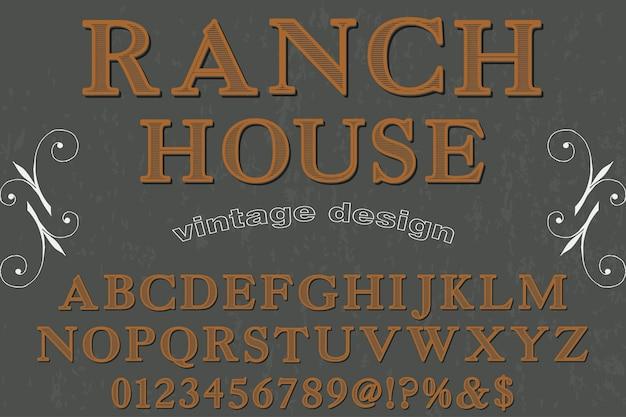 Ranch in stile grafico alfabetico carattere tipografico vintage