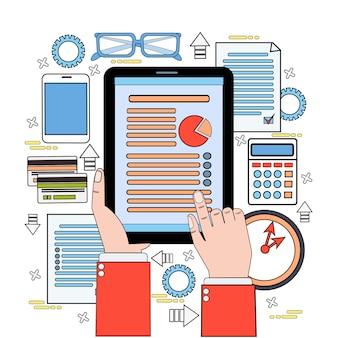 Rapporti di dati del touch screen della mano dell'uomo di affari del grafico di finanza della compressa, posto di lavoro della scrivania di documenti dell'uomo d'affari