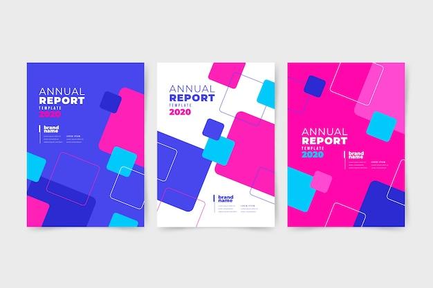 Rapporto annuale astratto colorato con quadrati