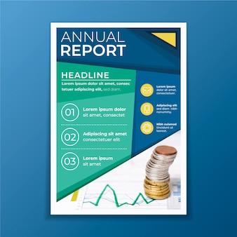 Rapporto annuale astratto con modello di foto