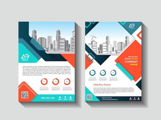 Rapporto annuale della rivista del manifesto della disposizione dell'aletta di filatoio del modello di progettazione del fondo dell'opuscolo di affari