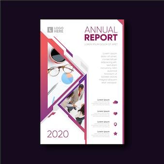 Rapporto annuale modello astratto con immagine