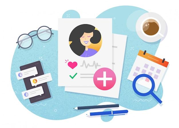 Rapporto dei pazienti di ricerca medica sulla salute con una lista di controllo dei risultati dei test sani