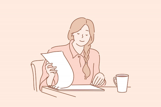 Rapporto della lettura dell'impiegato di ufficio, verifica, contratto, concetto di affari