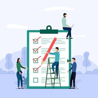 Rapporto di indagine, lista di controllo, questionario, illustrazione di vettore di concetto di affari