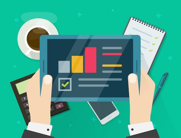 Rapporto di ricerca di controllo elettronico su tablet o persona che vede il fumetto piatto di statistiche analitiche