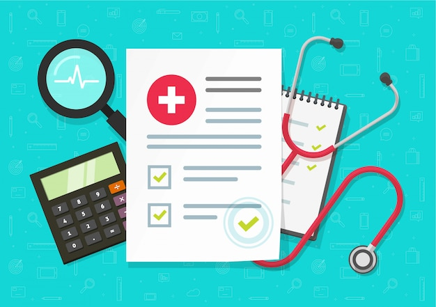 Rapporto di ricerca medica con il documento di assicurazione sulla tavola dello scrittorio o sui risultati della lista di controllo di salute, vista superiore
