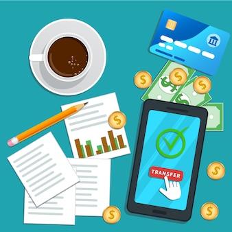 Rapporto fiscale smartphone piatto con puntatore del cursore che fa clic sul pulsante di trasferimento sullo schermo.