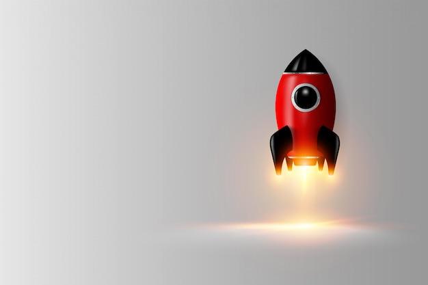 Rappresentazione digitale moderna del razzo 3d