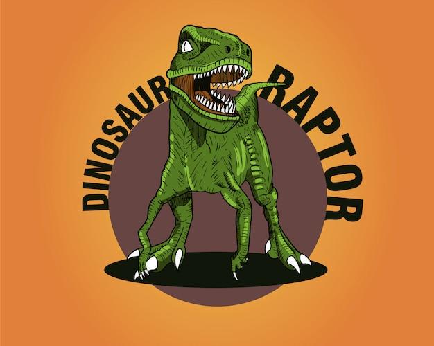 Raptor di dinosauri verde su sfondo arancione