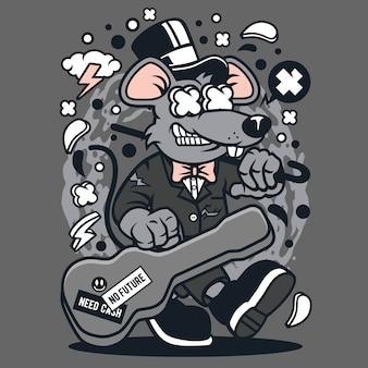 Rat guitar cartoon
