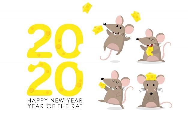 Ratto con saluto al formaggio per il 2020