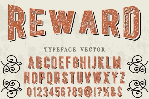 Raward di progettazione di etichette di alfabeto di vecchio stile