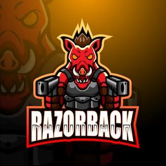Razorback gunners mascot esport illustrazione