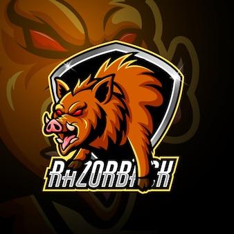 Razorback mascot esport logo design