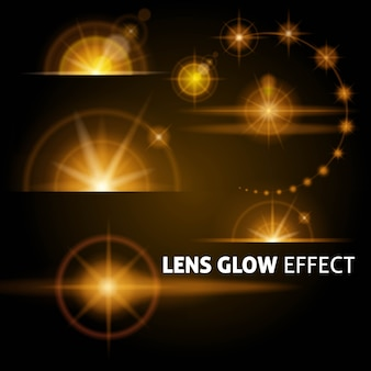 Razzi e raggi realistici dell'obiettivo lampeggiano con luce bianca arancione