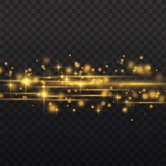 Razzi flare di lenti orizzontali giallo flash, raggi laser, raggi di luce orizzontali.