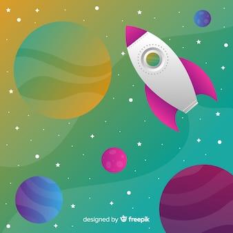 Razzo che viaggia attraverso lo sfondo colorato gradiente dello spazio