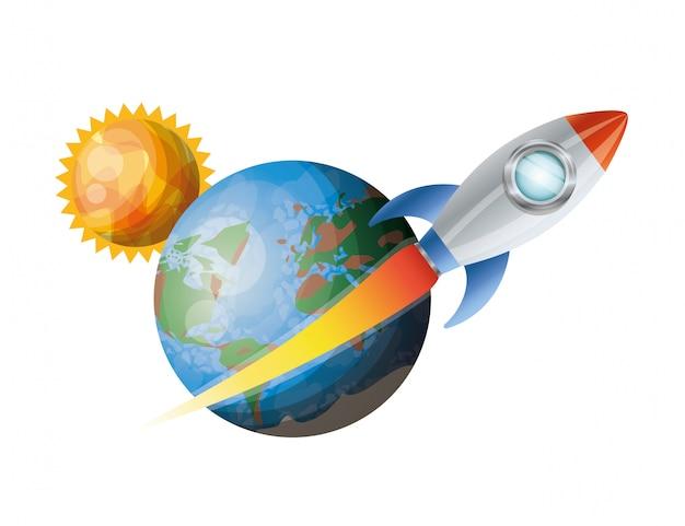 Razzo che vola con i pianeti del sistema solare isolato