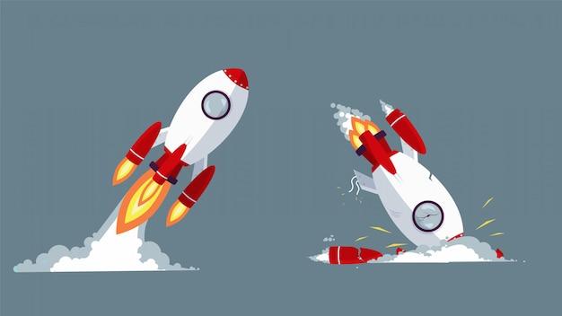 Razzo del fumetto che decolla e si schianta illustrazione grafica. avvio e fallimento all'avvio