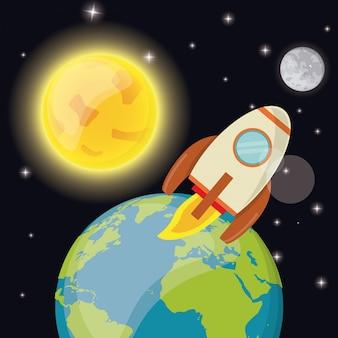Razzo di lancio pianeta terra sole