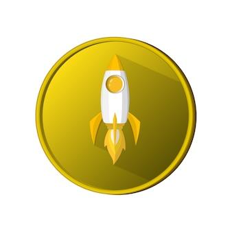 Razzo di spazio moneta lanciare l'icona del modello e la fiamma. logo o banner