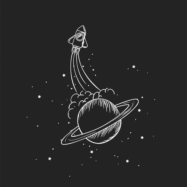 Razzo e pianeta disegnano