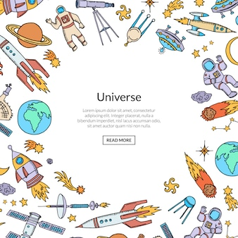 Razzo spaziale disegnato a mano con spazio di copia