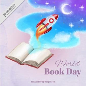 Razzo volare verso la luna da un background libro