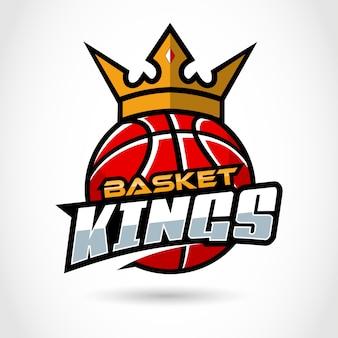 Re del canestro. sport, modello di logo di pallacanestro.