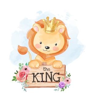Re del fumetto con la corona che tiene l'illustrazione di legno del segno