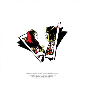 Re e regina nel modello logo carta