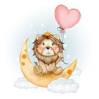 Re leone carino si siede sulla luna in possesso di un palloncino a cuore
