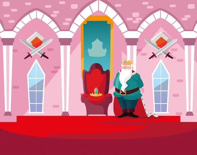 Re nel castello da favola con decorazioni