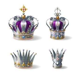 Re, regina d'argento, corona d'oro o platino decorata con gemme e perle, seta viola, velluto