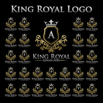 Re royal logo con set di alfabeto
