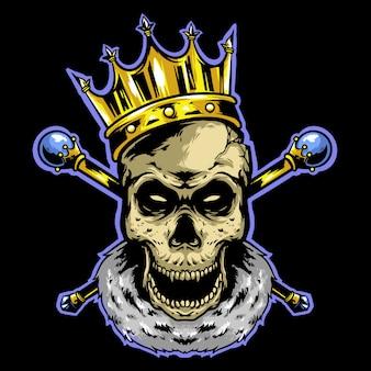 Re teschio con corona e logo bastone d'oro