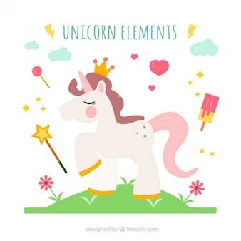 Re unicorno con cute elementi