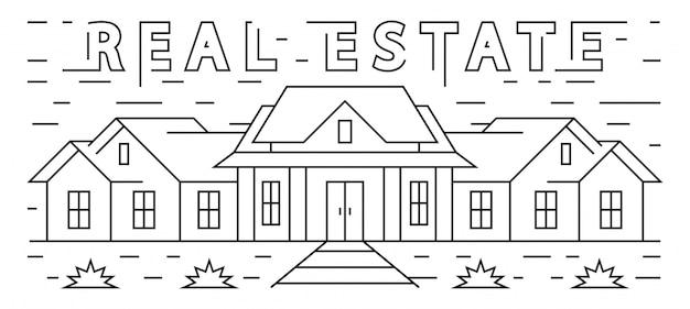Real estate line art design. illustrazione della grande casa. semplice bianco e nero