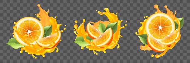 Realismo, arance, schizzi di succo insieme di raccolta