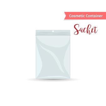 Realistic white sashet per prodotto cosmetico