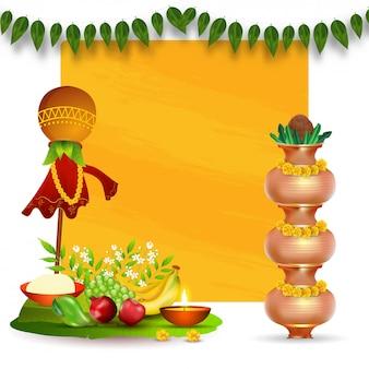 Realistic worship pot (kalash) set con frutta, fiori di neem, foglie e ciotola di sale sul banner giallo