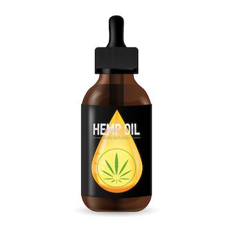 Realistica bottiglia di vetro marrone con olio di canapa. foglie di cannabis liquide per un design medico e realistico in 3d.